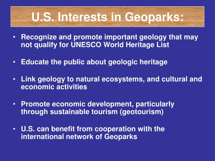 U.S. Interests in Geoparks: