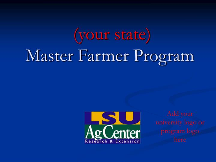 your state master farmer program