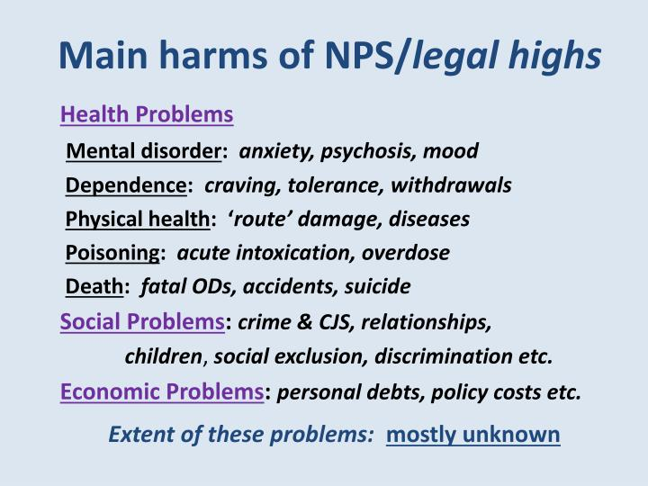 Main harms of NPS/