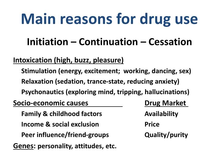 Main reasons for drug use