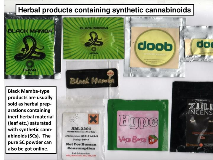 Herbal products containing synthetic cannabinoids