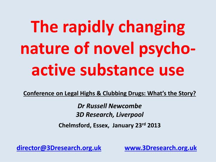 The rapidly changing nature of novel psycho active substance use