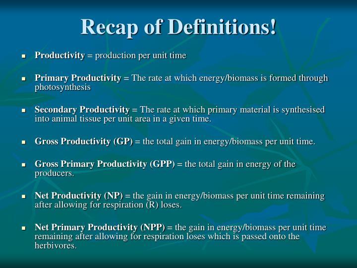 Recap of Definitions!