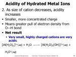 acidity of hydrated metal ions1