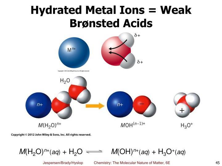 Hydrated Metal Ions = Weak Brønsted Acids