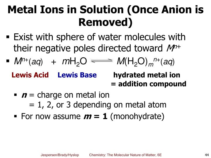 Metal Ions in Solution (Once Anion is Removed)