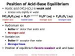 position of acid base equilibrium