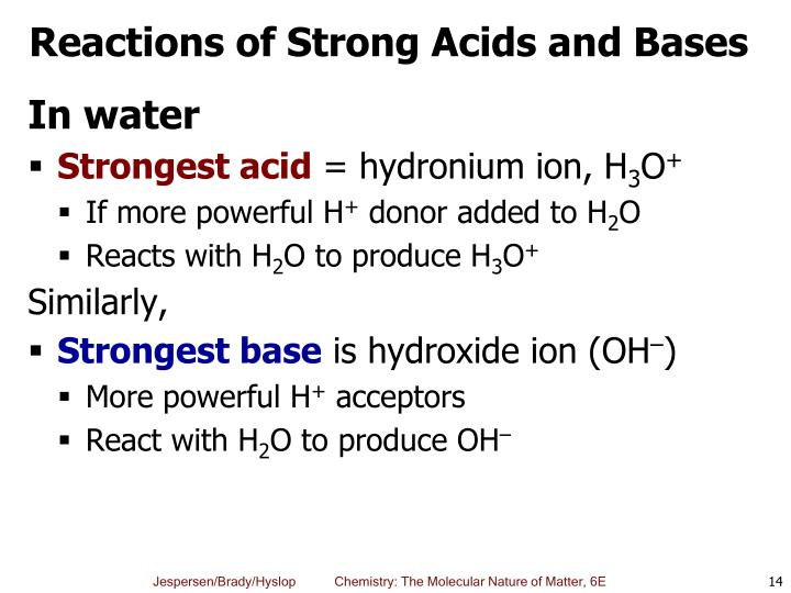 Reactions of Strong Acids and Bases