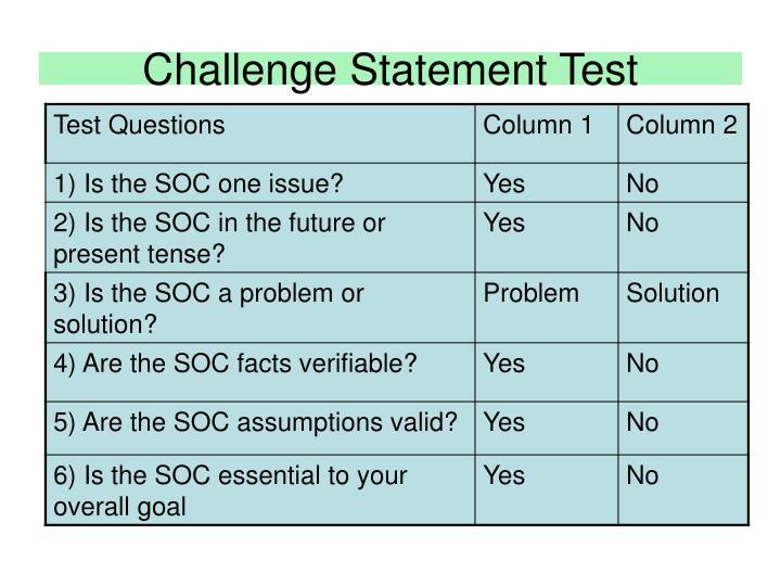 Challenge Statement Test