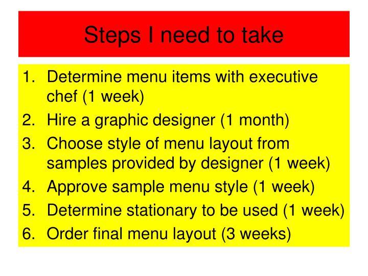 Steps I need to take