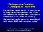 carbapenem resistant p aeruginosa outcome