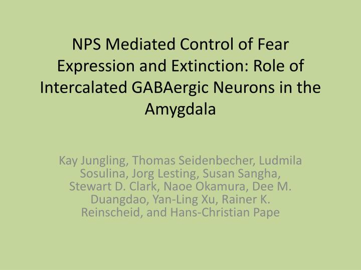 NPS Mediated Control of Fear Expression and Extinction: Role of Intercalated GABAergic Neurons in the Amygdala
