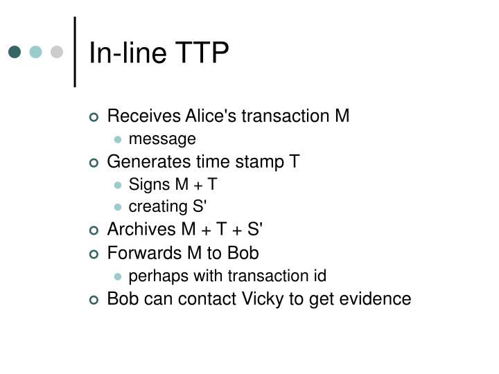 In-line TTP