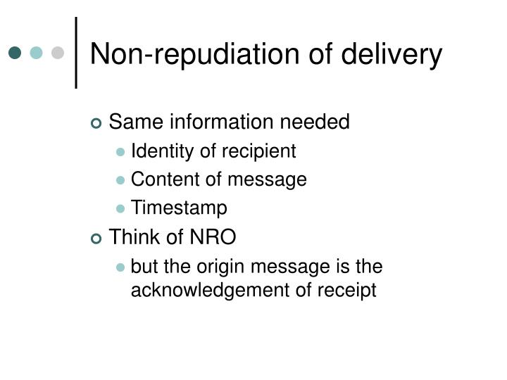 Non-repudiation of delivery