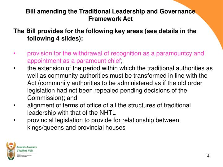 Bill amending the Traditional Leadership and Governance Framework Act