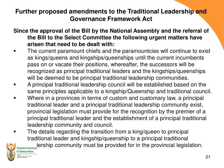 Further proposed amendments to the Traditional Leadership and Governance Framework Act