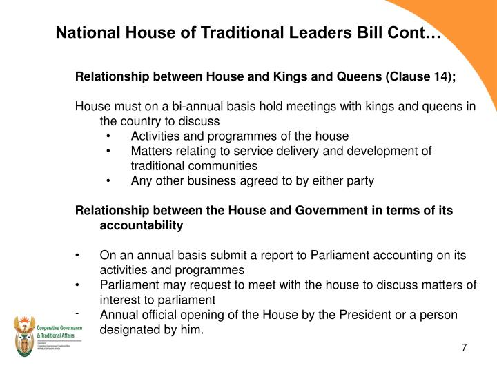 National House of Traditional Leaders Bill Cont…