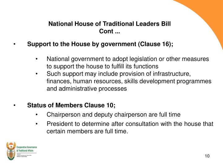 National House of Traditional Leaders Bill