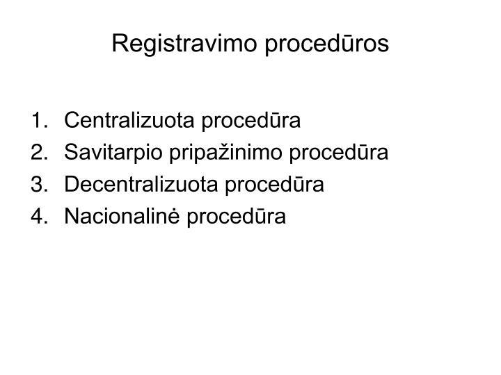 Registravimo procedūros