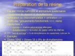 pr paration de la r sine