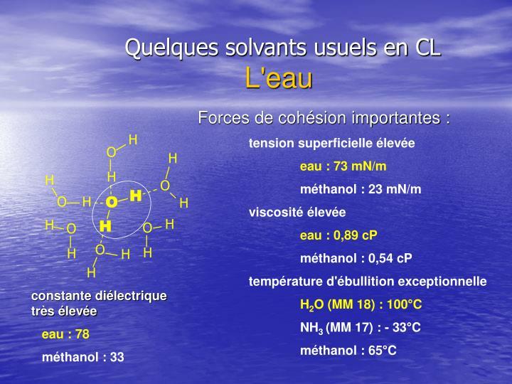 Quelques solvants usuels en CL