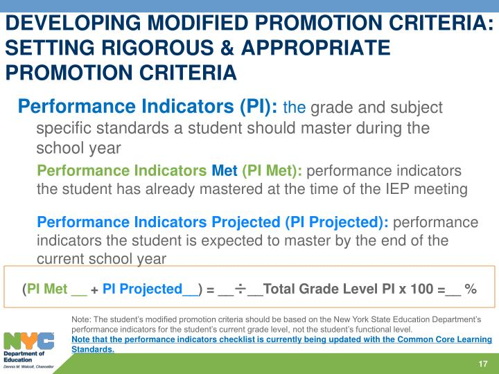 DEVELOPING MODIFIED PROMOTION CRITERIA: SETTING RIGOROUS & APPROPRIATE PROMOTION CRITERIA
