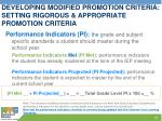 developing modified promotion criteria setting rigorous appropriate promotion criteria
