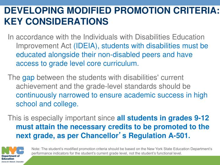 DEVELOPING MODIFIED PROMOTION CRITERIA: KEY CONSIDERATIONS