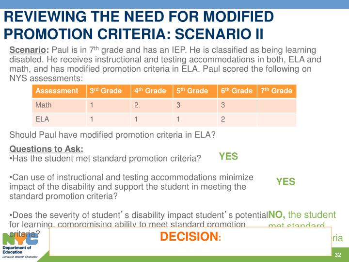 REVIEWING THE NEED FOR MODIFIED PROMOTION CRITERIA: SCENARIO II