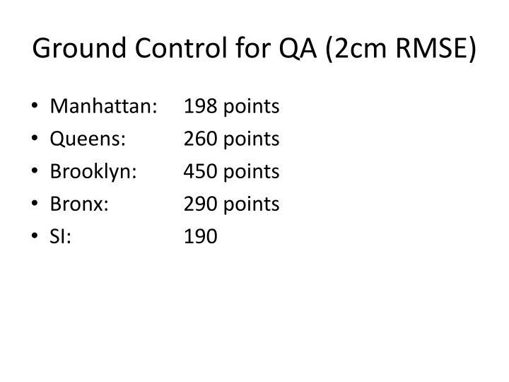 Ground Control for QA (2cm RMSE)
