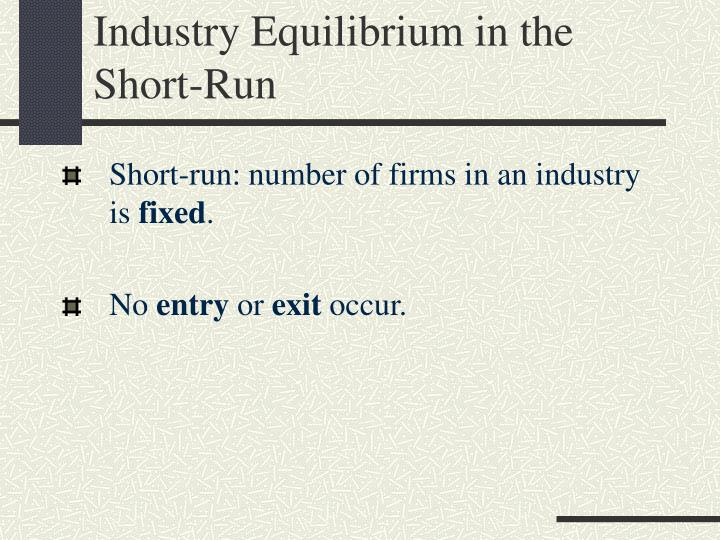 Industry Equilibrium in the Short-Run
