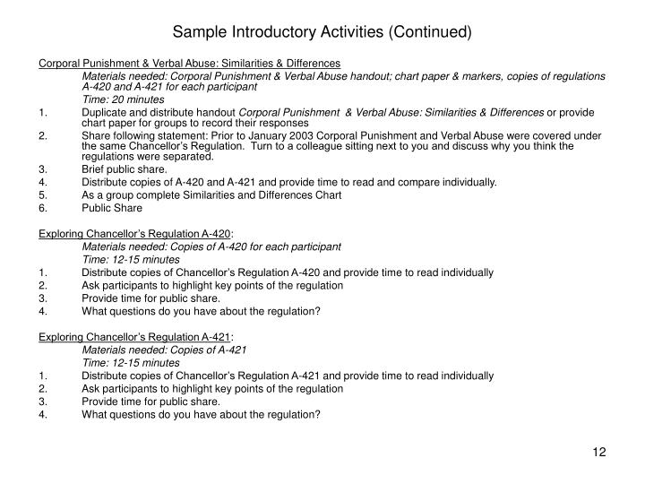 Sample Introductory Activities (Continued)
