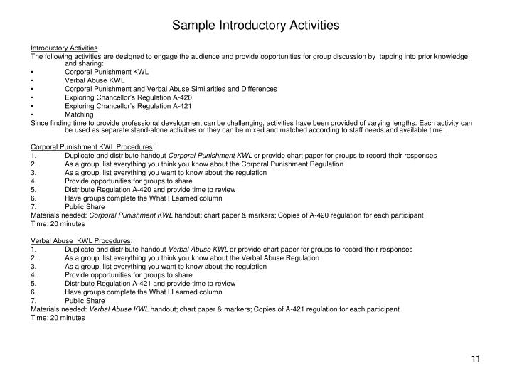 Sample Introductory Activities