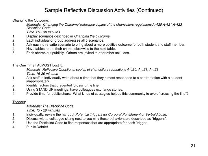 Sample Reflective Discussion Activities (Continued)