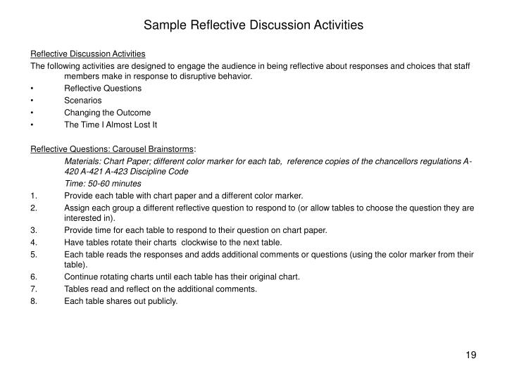 Sample Reflective Discussion Activities