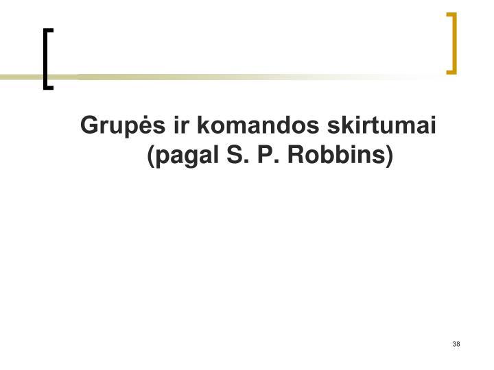 Grupės ir komandos skirtumai (pagal S. P. Robbins)