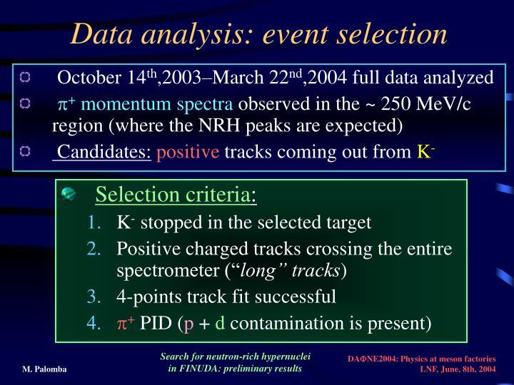 Data analysis: event selection