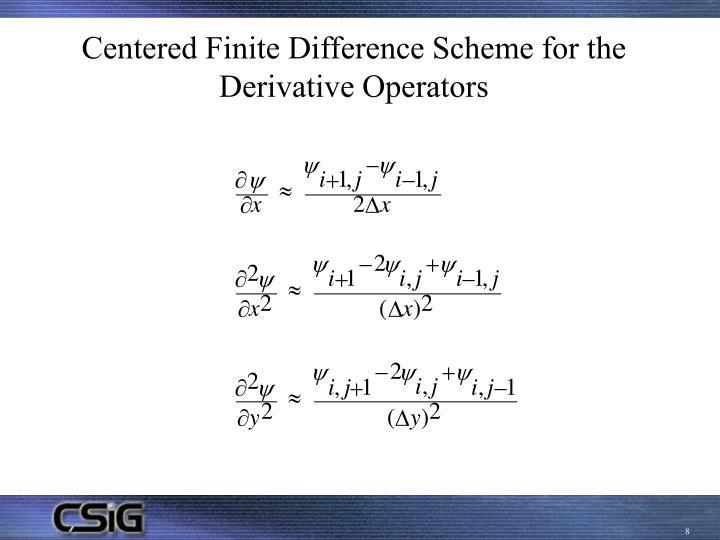 Centered Finite Difference Scheme for the Derivative Operators