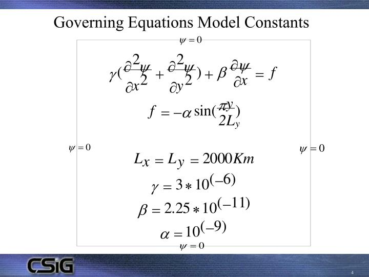 Governing Equations Model Constants