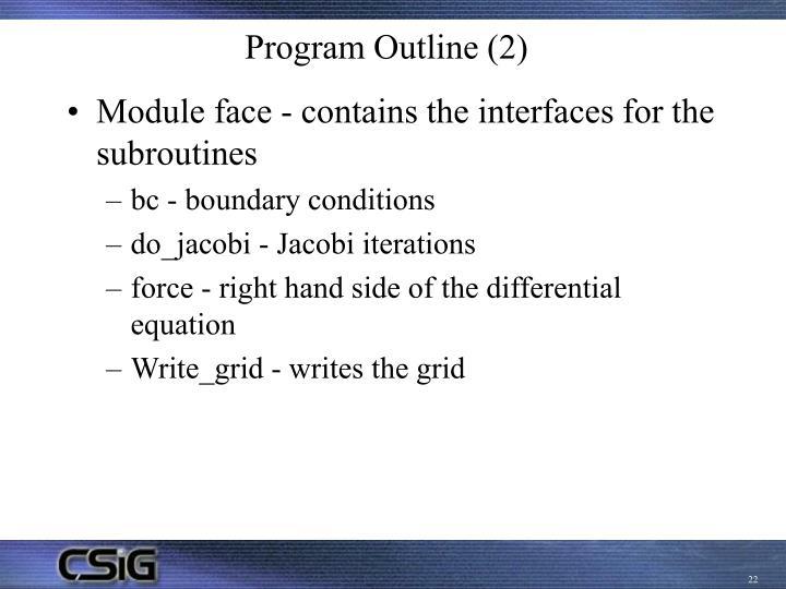 Program Outline (2)