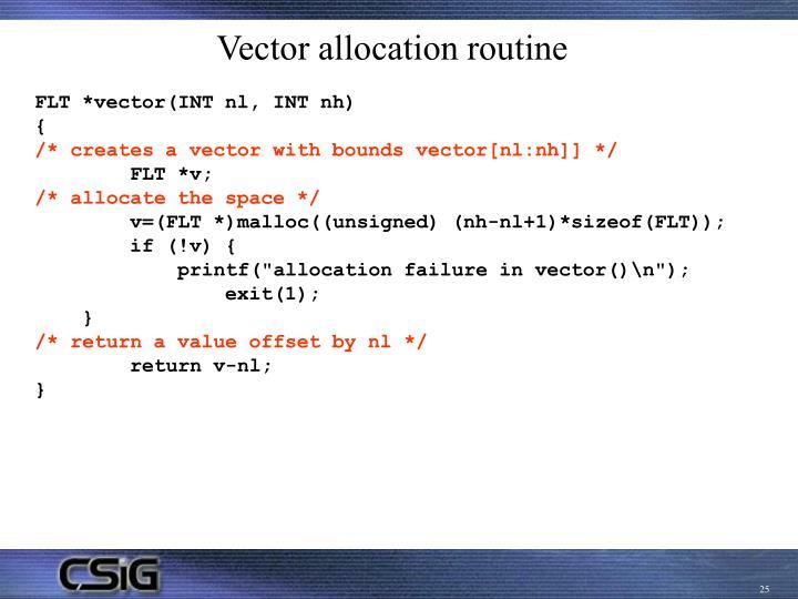 Vector allocation routine