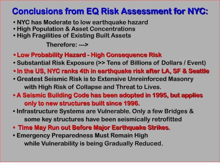 Conclusions from EQ Risk Assessment for NYC: