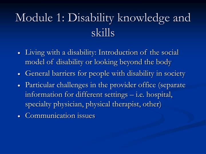 Module 1: Disability knowledge and skills