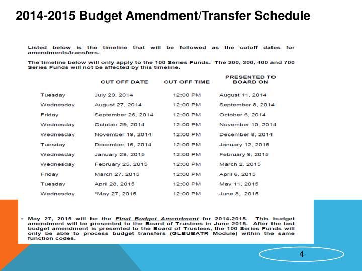 2014-2015 Budget Amendment/Transfer Schedule