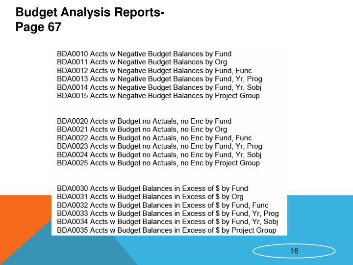Budget Analysis Reports- Page 67