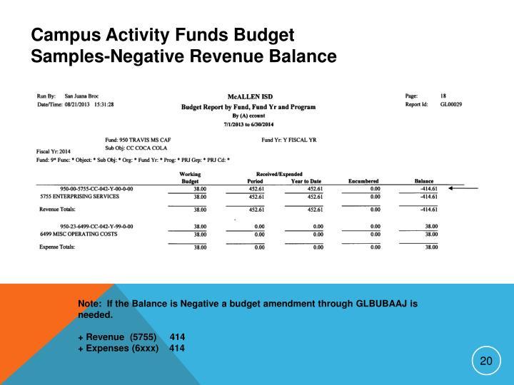 Campus Activity Funds Budget Samples-Negative Revenue Balance