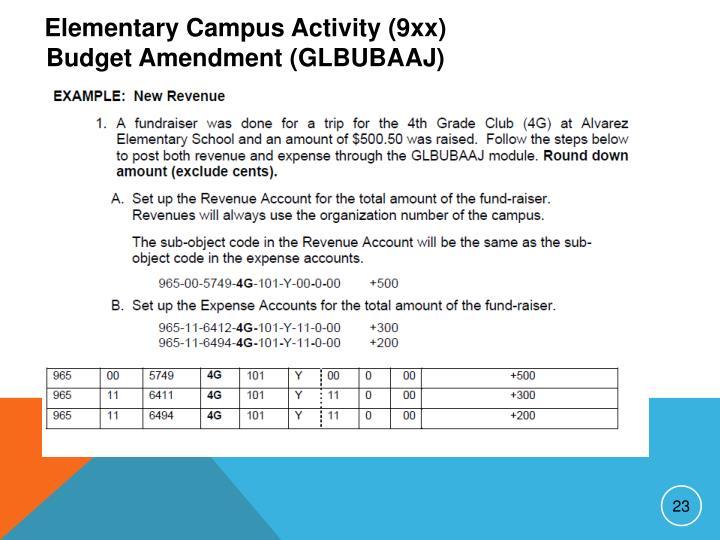 Elementary Campus Activity (9xx) Budget Amendment (GLBUBAAJ