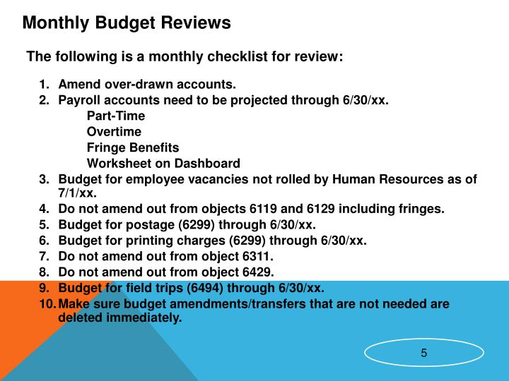 Monthly Budget Reviews