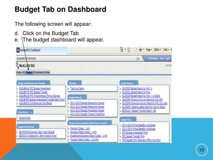 Budget Tab on Dashboard