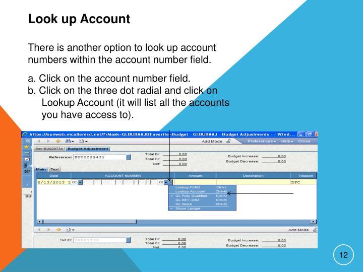Look up Account